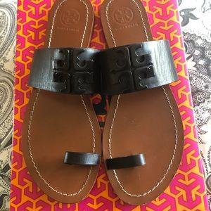 Tory Burch Flat Logo Sandals, Size 8